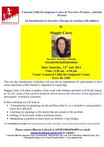 Flyer for Narrative Therapy Workshop maggie carey 2014