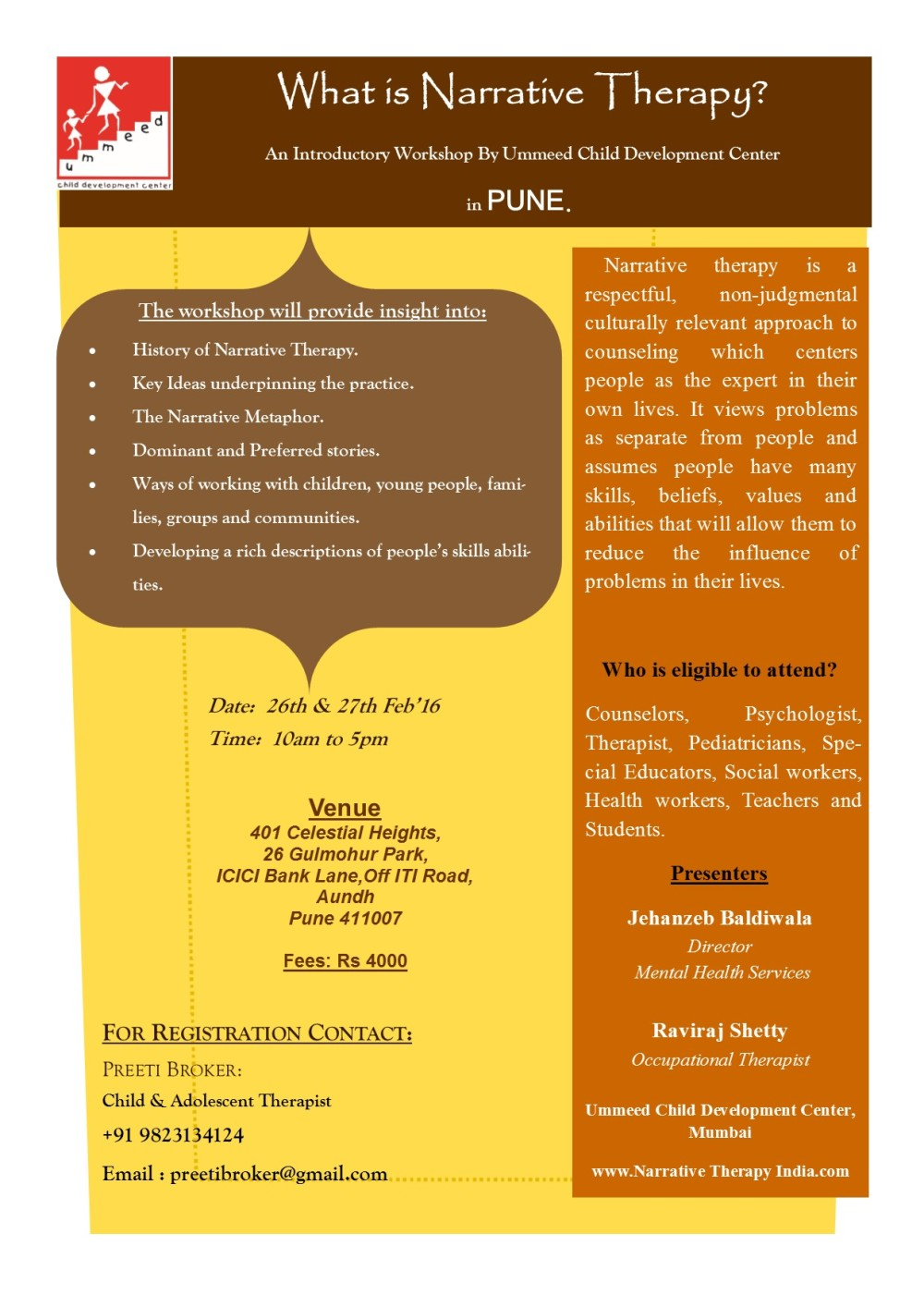 What's Narrative Therapy Flyer pune